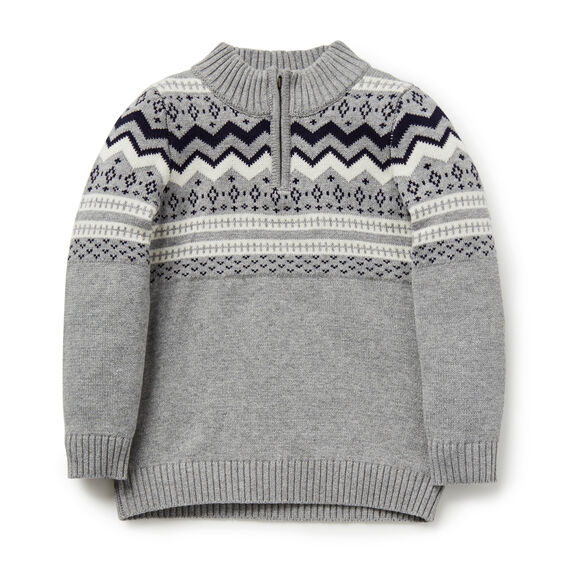 Fair Isle Zip Sweater