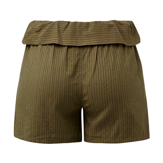 Olive Self Stripe Short
