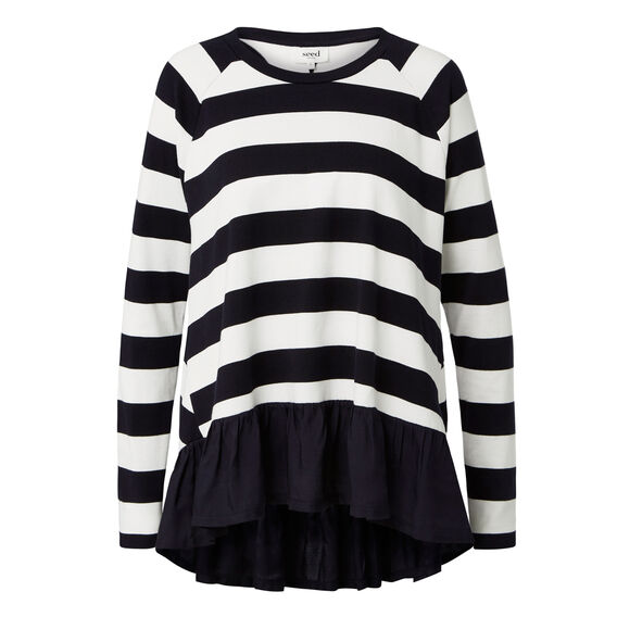 Block Stripe Frill Long Sleeve Tee