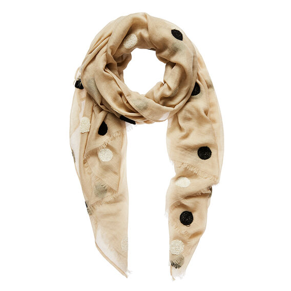 Embroidered Spot Scarf