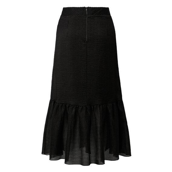 Self Stripe Longline Frill Skirt