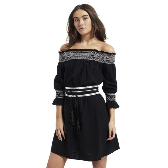 Belted Off Shoulder Dress