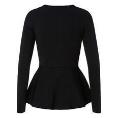 Crepe Zip Peplum Sweater