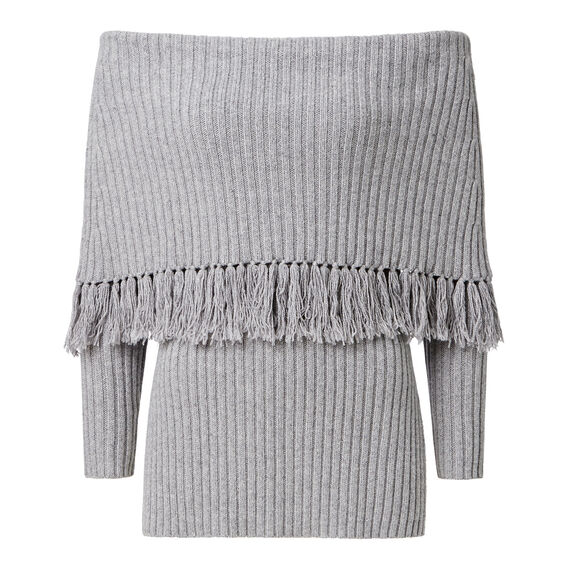 Off Shoulder Fringe Knit