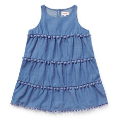 Chambray Pom Pom Dress