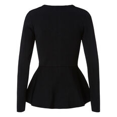 Crepe Zip Peplum Sweater