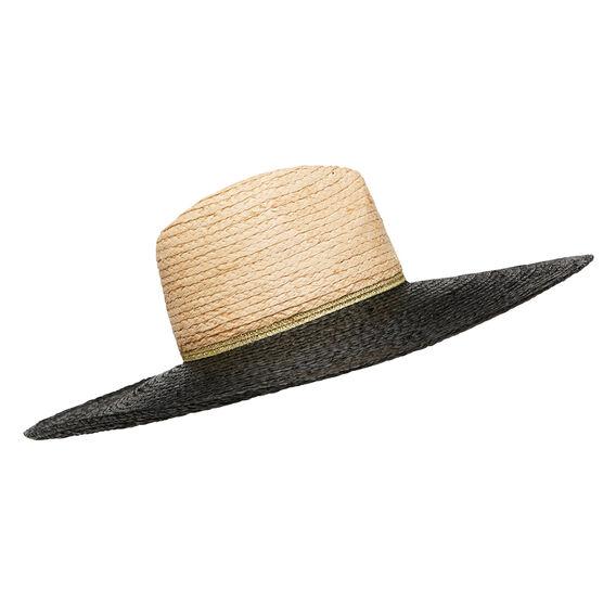 Raffia Contrast Brim Hat