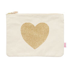 Glitter Heart Zip Case