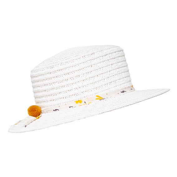 Floral Trim Boater Hat