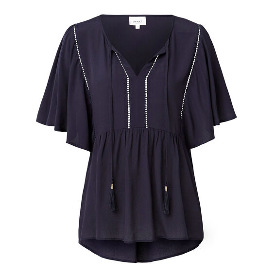 Tie Front Frill Blouse