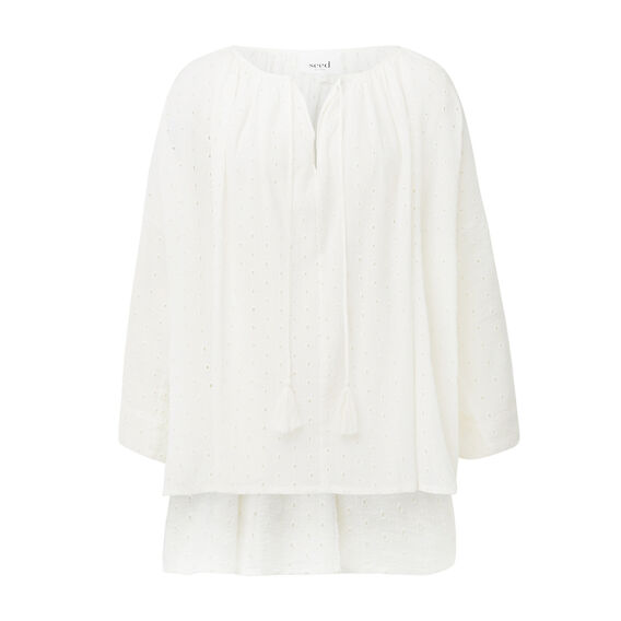 Cream Broderie Blouse
