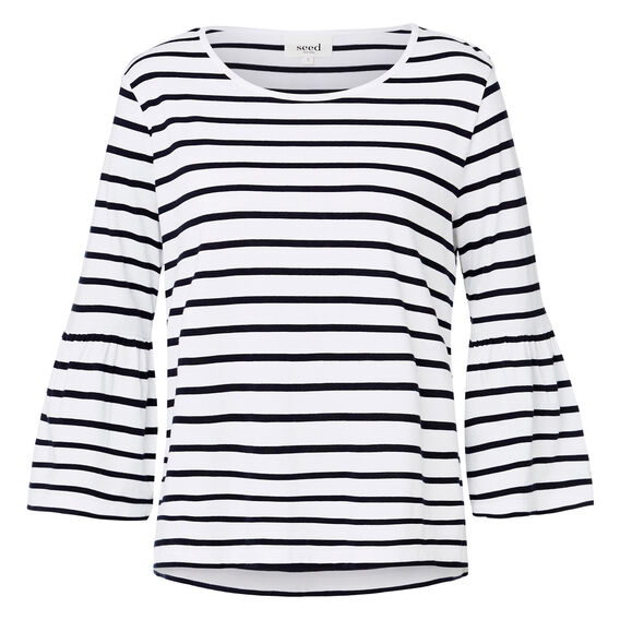 Frill Sleeve Stripe Top