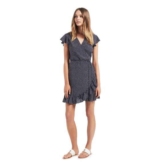Spot Frill Wrap Dress