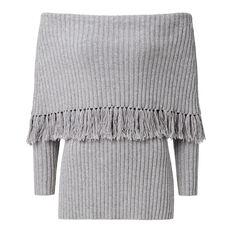 Off Shoulder Fringe Knit