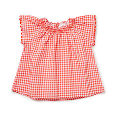 Gingham Smock Top