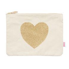 Glitter Heart Zip Case