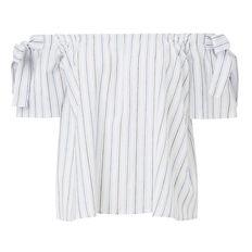 Tie Off Shoulder Stripe Top