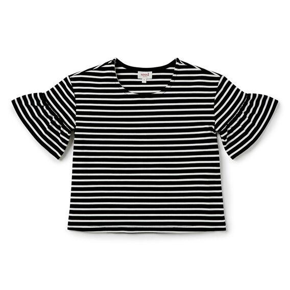 Stripe Frill Sleeve Tee