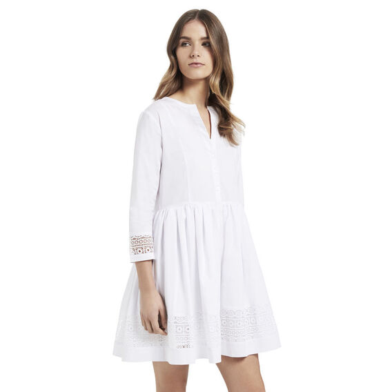 White Lace Shirt Dress