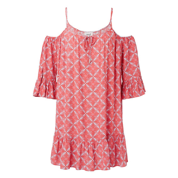 Print Cold Shoulder Dress