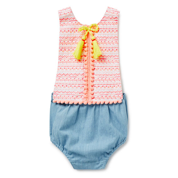 Embroidered Tassel Trim Romper