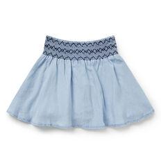 Smocked Chambray Skirt