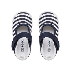 Canvas Stripe Mary Janes