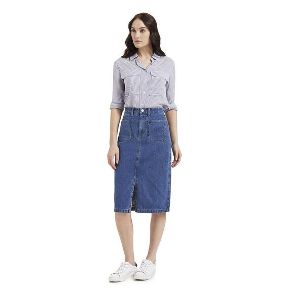 Denim Patch Pocket Skirt