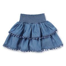 Chambray Pom Pom Skirt