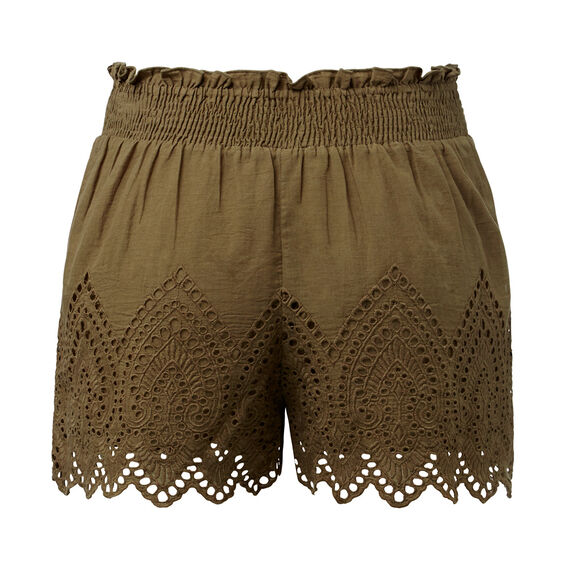 Shirred Broderie Short