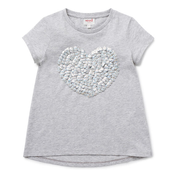 Shell Sequin Heart Tee