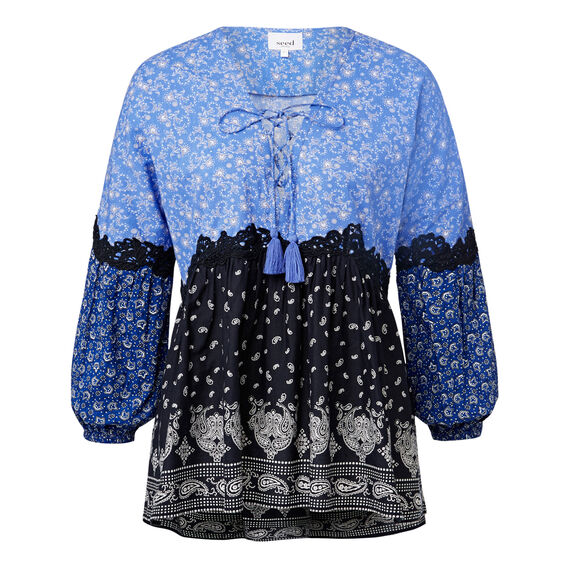 Border Print Lace Blouse