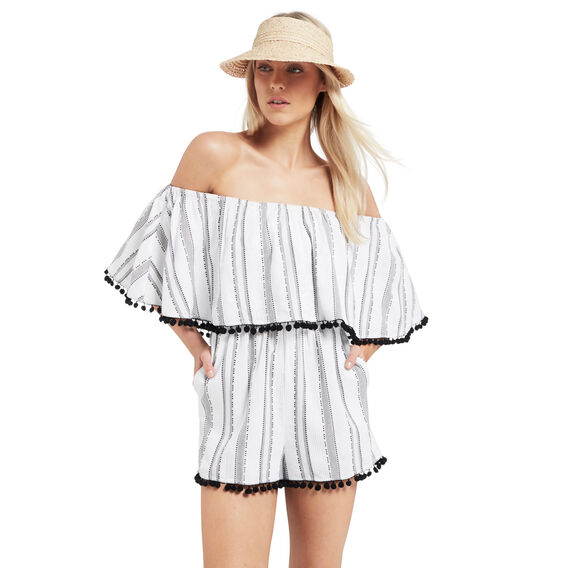 Stripe Frill Jumpsuit