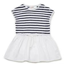 Linen Stripe Splice Dress