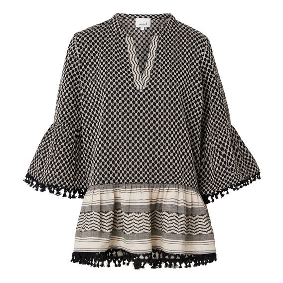 Patterned Tassel Top
