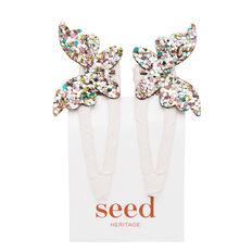 Multi Glitter Butterfly Snap
