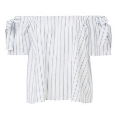 Tie Off Shoulder Stripe Top