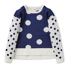 Spot Split Hem Sweater