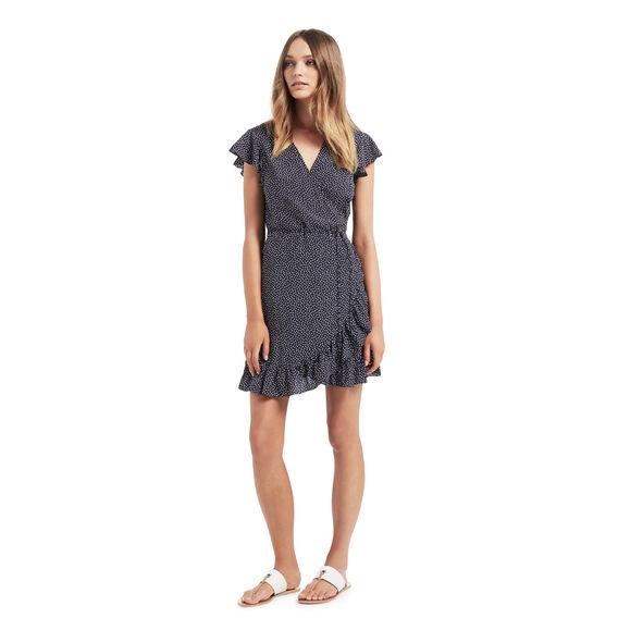Spot Frill Wrap Dress