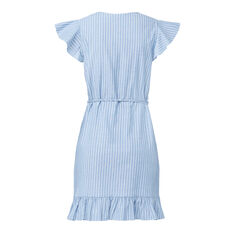 Stripe Frill Wrap Dress