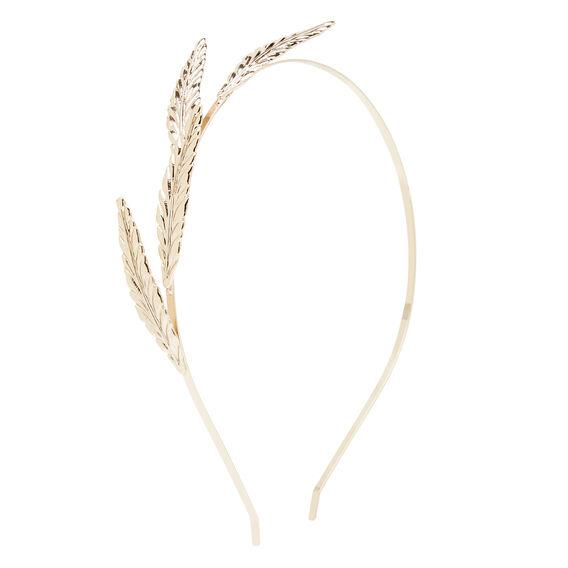 Gold Metal Feather Headband