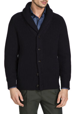 Fisherman Navy Shawl Cardi