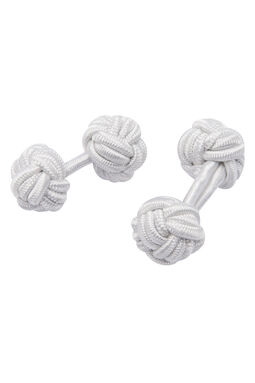 Eliot White Silk Knot Cufflink, , hi-res