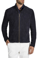 Vancouver Navy Leather Jacket, , hi-res