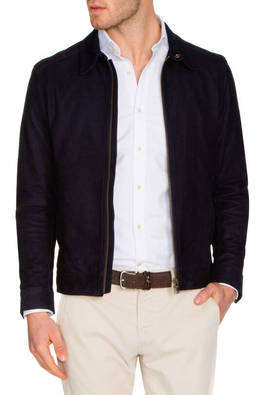 H.Humes Navy Leather Jacket-Navy-L, , hi-res