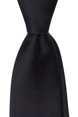Mauricio Black Plain Tie-Black-OSFA, , hi-res