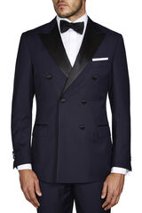 Saunders Navy DB Satin Jacket, , hi-res