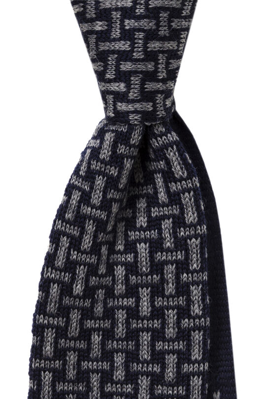 Iiario Black/Grey Knitted Tie, , hi-res