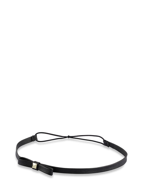 Faux Leather Black Bow Band