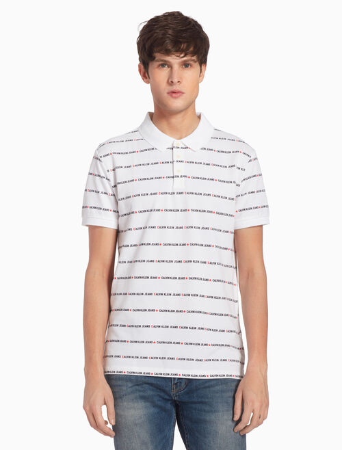 CALVIN KLEIN ALL-OVER LOGO INSTITUTIONAL POLO SHIRT